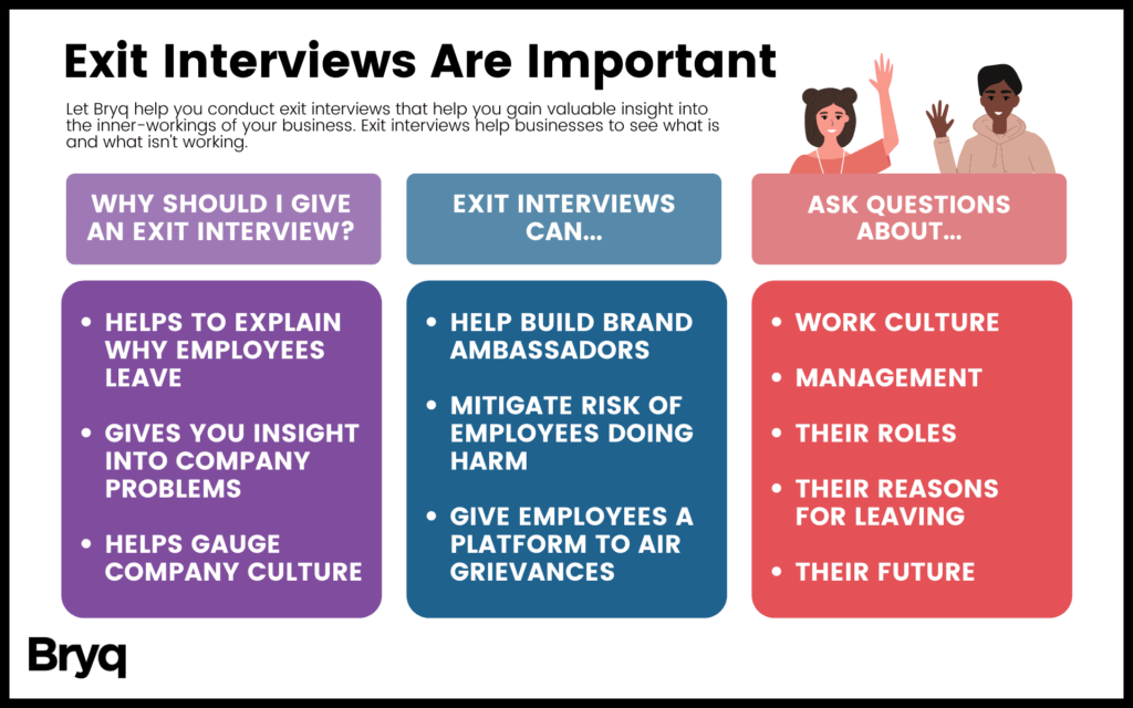 Exit interview questions help employers recognize workplace problems and retain talent.